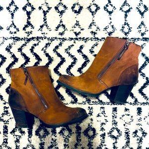 Cognac Zip Clarks Leather Boots